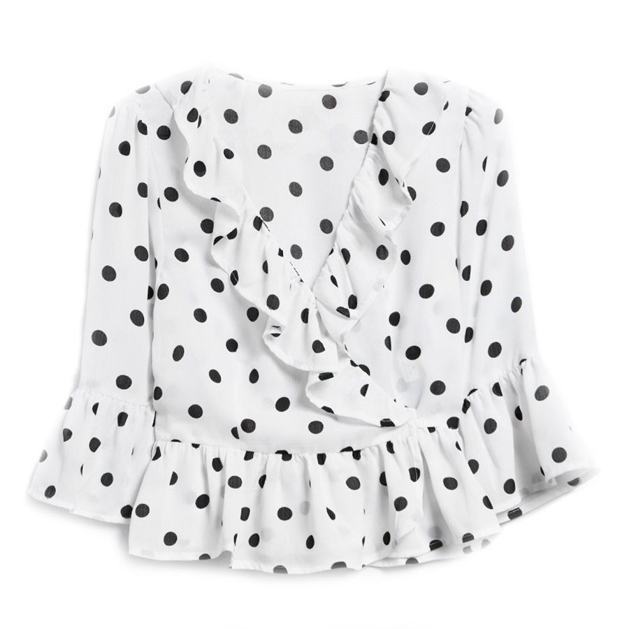 white top with navy polka dots