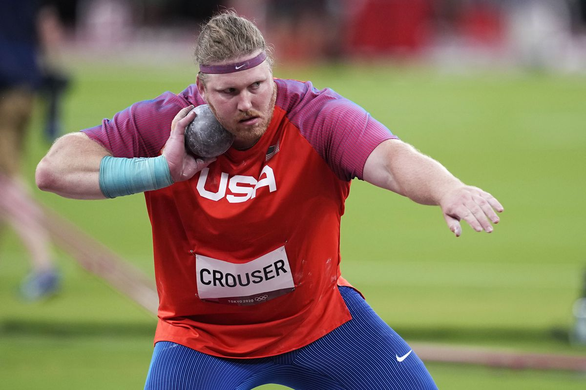 Ryan Crouser (USA) competes in the men's shot put qualification during the Tokyo 2020 Olympic Summer Games at Olympic Stadium.
