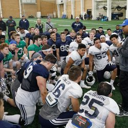 BYU coach Kalani Sitake talks to the team following the Cougars' practice in the Indoor Practice Facility on Thursday, March 15, 2018, in Provo.