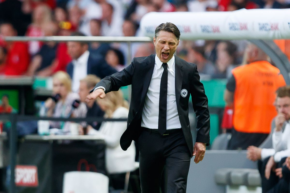 BERLIN, GERMANY - MAY 19: Head coach Niko Kovac of Eintracht Frankfurt gestures during the DFB Cup final between Bayern Muenchen and Eintracht Frankfurt at Olympiastadion on May 19, 2018 in Berlin, Germany.