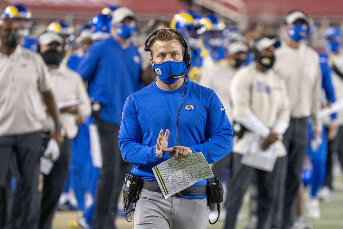 Los Angeles Rams head coach Sean McVay calls a timeout against the San Francisco 49ers during the third quarter at Levi's Stadium.