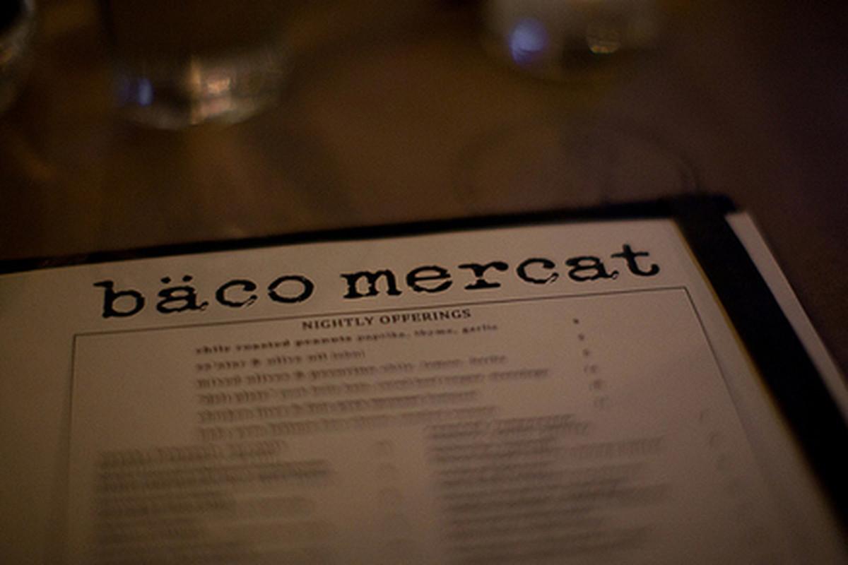 "Menu at Bäco Mercat, Downtown. [Photo: <a href=""http://www.flickr.com/photos/eatsmeetswes/6586117321/"">EatsMeetsWes</a>"