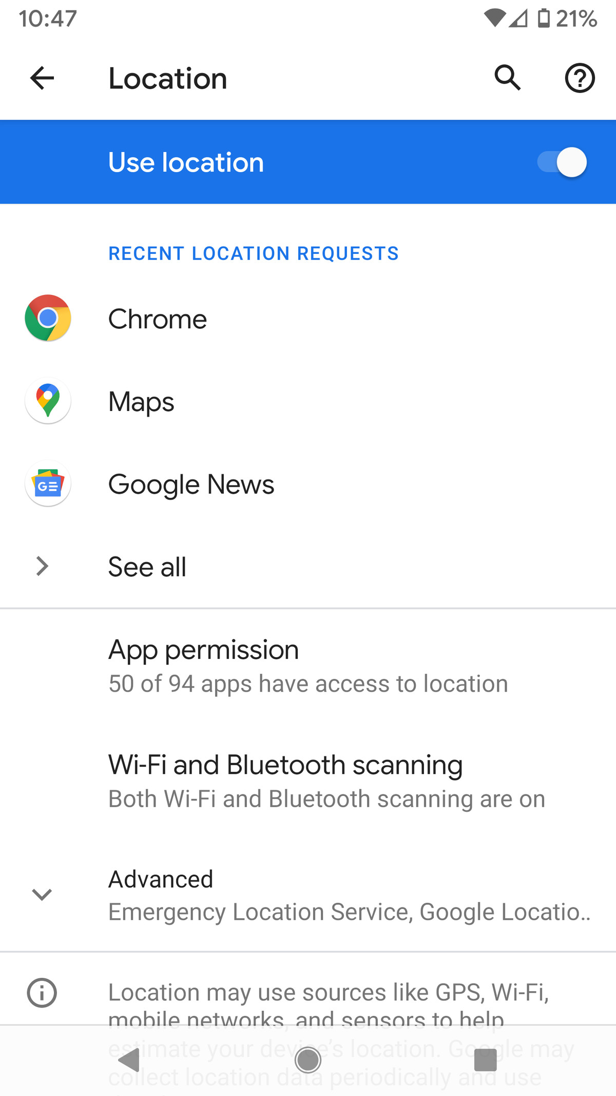 Once Location is enabled, you can tweak the settings of your various apps.