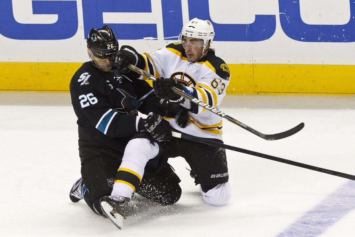 Brad Marchand with a great representation of what the 2011-12 season was to Michal Handzus.