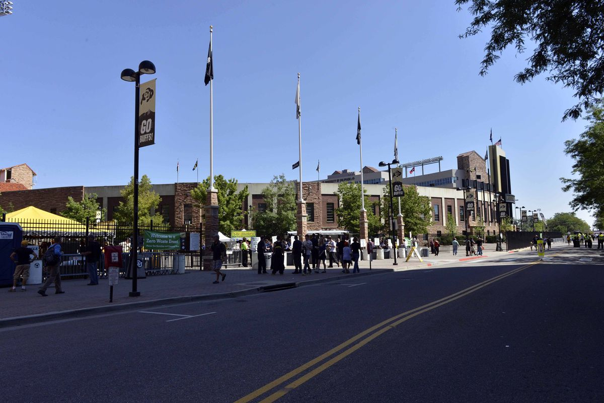 Sept 08, 2012; Boulder, CO, USA;  General view of the entrance of Folsom Field before the game between the Sacramento State Hornets against the Colorado Buffaloes. Mandatory Credit: Ron Chenoy-US PRESSWIRE