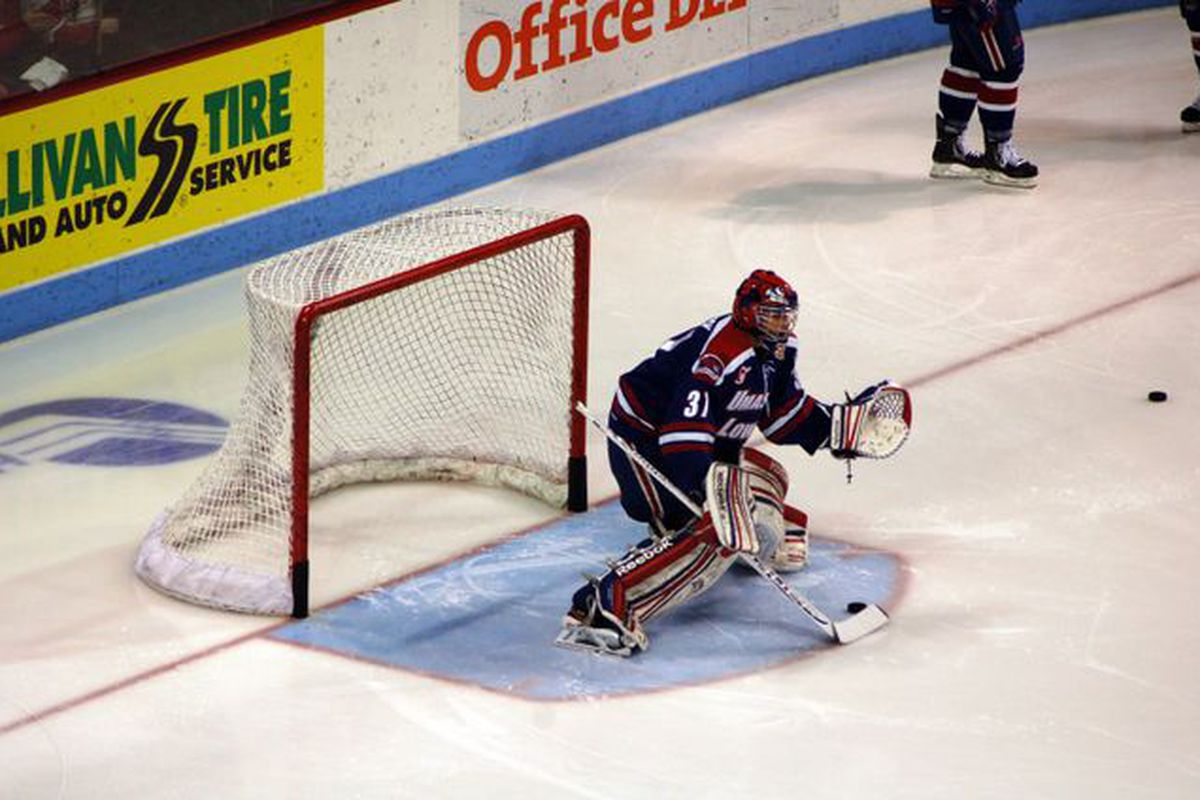 UMass-Lowell freshman goaltender Connor Hellebuyck has stopped all 21 shots he's faced through two periods.
