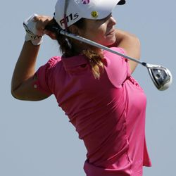 Beatriz Recari, of Spain, watches her tee shot on the second hole during final round play in the Navistar LPGA Classic golf tournament on Sunday, Sept. 23, 2012, at the Robert Trent Jones Golf Trail in Prattville, Ala.