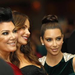 Kris Jenner, left, with Sofia Vergara, center, and Kim Kardashian during the White House Correspondents' Association Dinner headlined by late-night comic Jimmy Kimmel, Saturday, April 28, 2012 in Washington.
