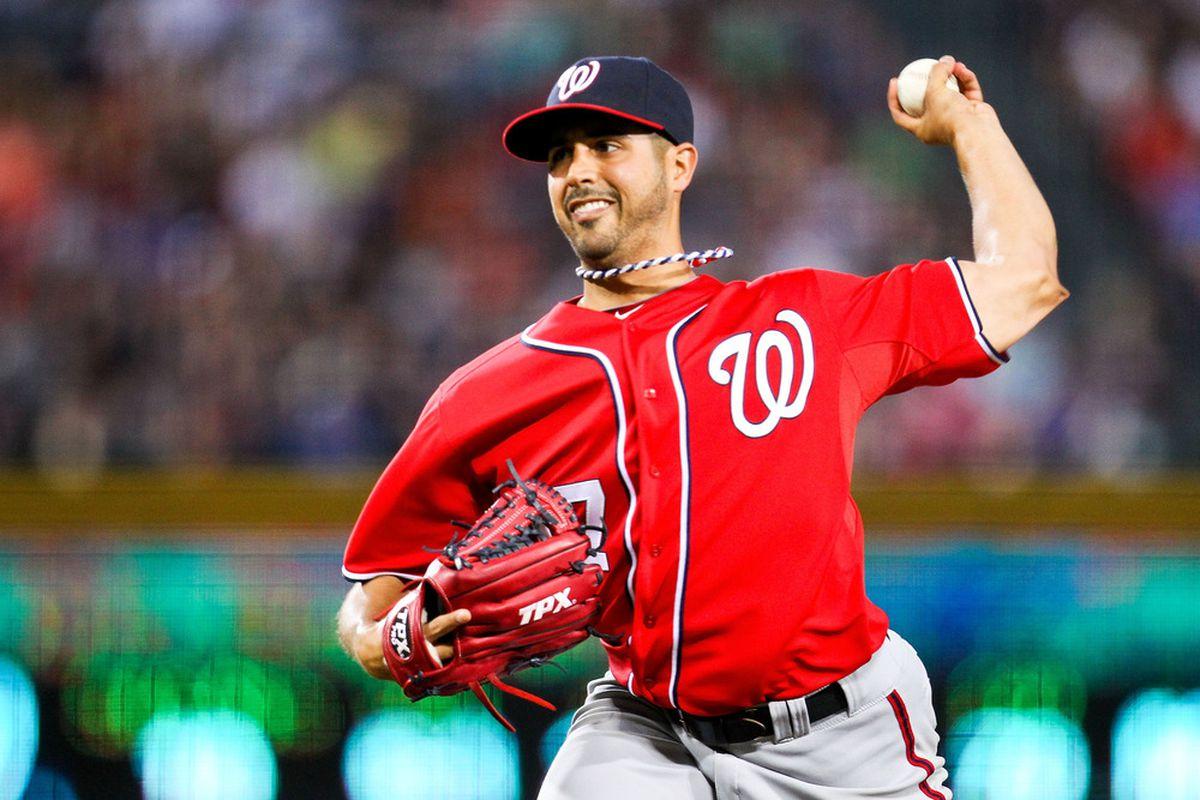 May 27, 2012; Atlanta, GA, USA; Washington Nationals starting pitcher Gio Gonzalez (47) pitches in the second inning against the Atlanta Braves at Turner Field. Mandatory Credit: Daniel Shirey-US PRESSWIRE