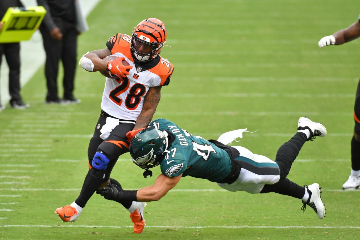 Cincinnati Bengals running back Joe Mixon is knocked out of bounds by Philadelphia Eagles linebacker Nate Gerry during the third quarter at Lincoln Financial Field