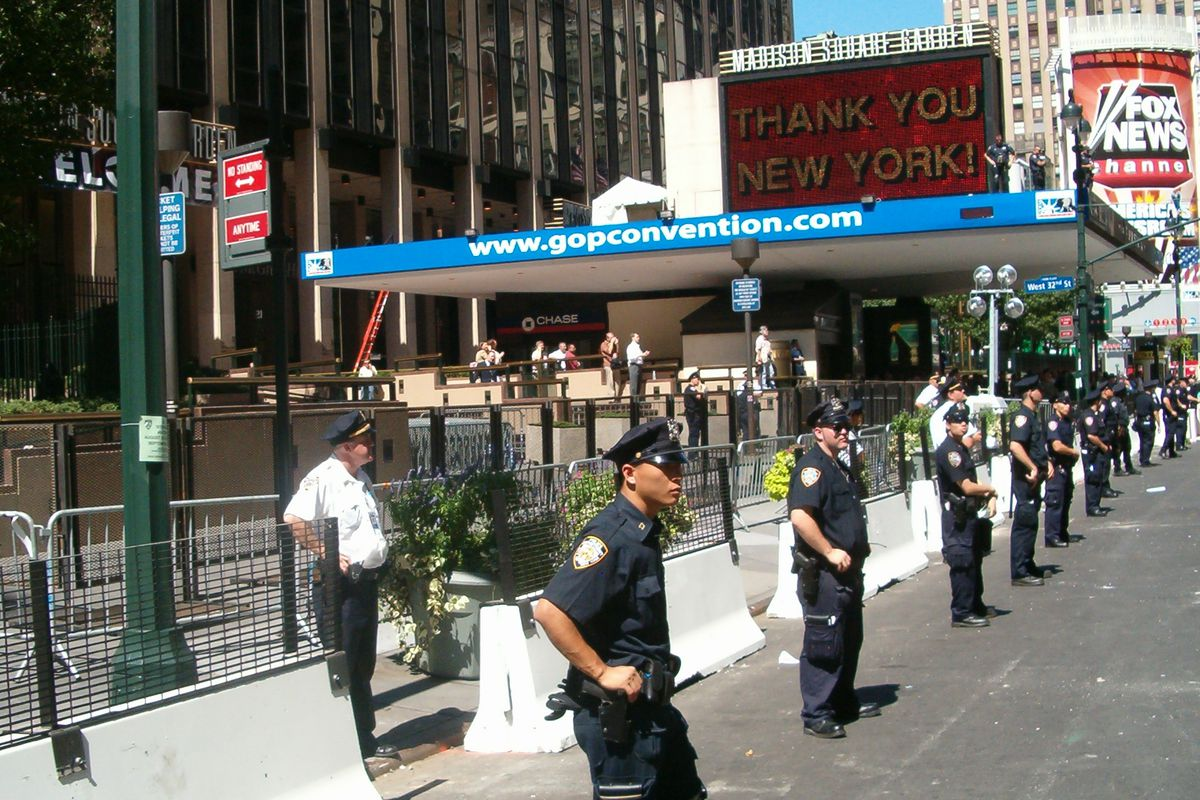 NYPD officers stand guard outside Madison Square Garden during the 2004 Republican National Convention.