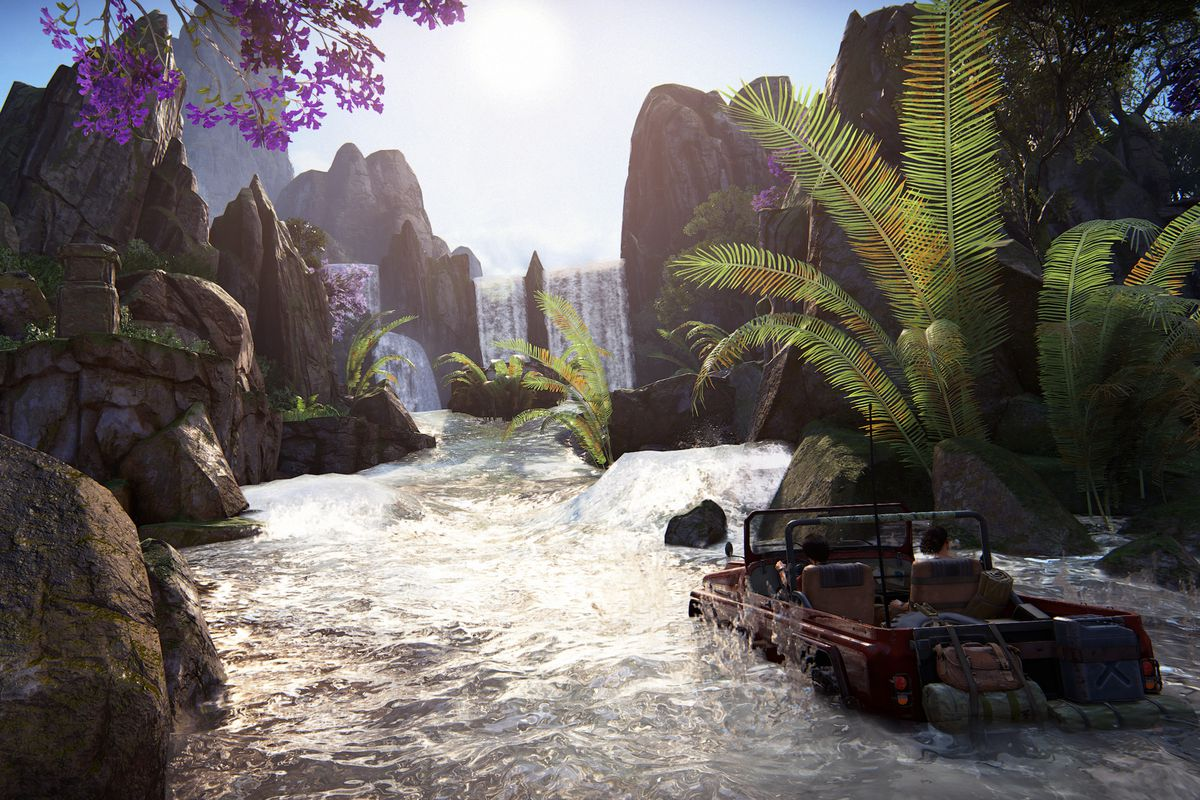 Uncharted: The Lost Legacy - driving jeep through shallow water