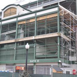 Scaffolding above Gate D at Addison & Sheffield