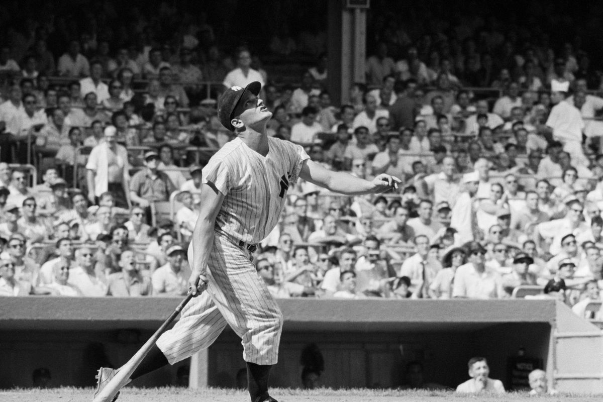 Roger Maris Watching Pop Fly Ball During Game