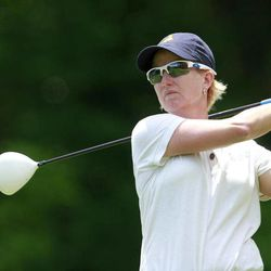 Karrie Webb, of Australia, tees off on the ninth hole during the third round of the Mobile Bay LPGA Classic golf tournament, Saturday, April 28, 2012, in Mobile, Ala.
