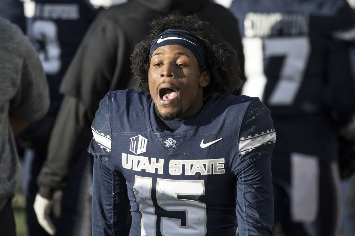 Jason Shelley of the Utah State Aggies shouts as he walks on the sideline in the final minutes of their game against the Fresno State Bulldogs during their game November 14, 2020 at Maverick Stadium in Logan, Utah.
