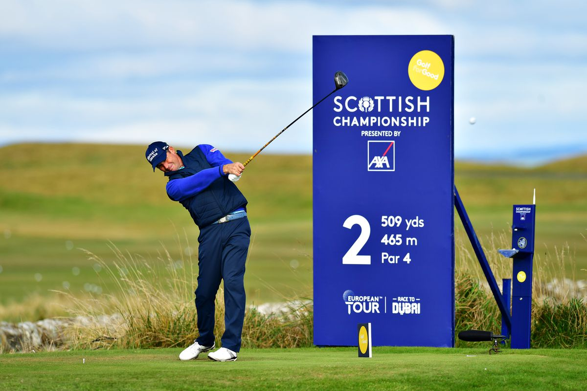 Padraig Harrington of Ireland plays his shot from the 2nd tee during Day Three of the Scottish Championship presented by AXA at Fairmont St Andrews on October 17, 2020 in St Andrews, Scotland.