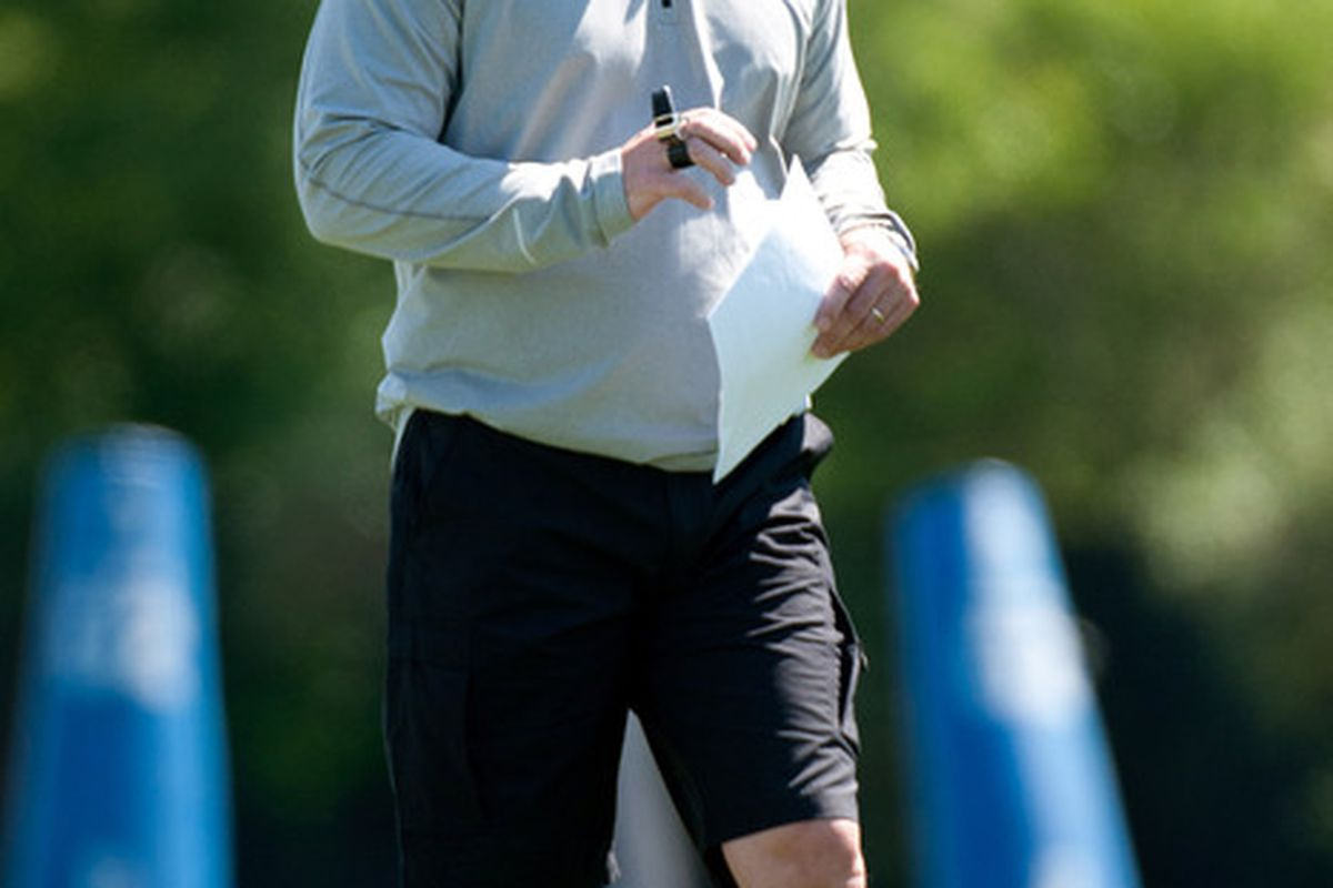 May 11, 2012; Allen Park, MI, USA; Detroit Lions head coach Jim Schwartz watches during rookie mini camp at the Detroit Lions training facility. Mandatory Credit: Tim Fuller-US PRESSWIRE