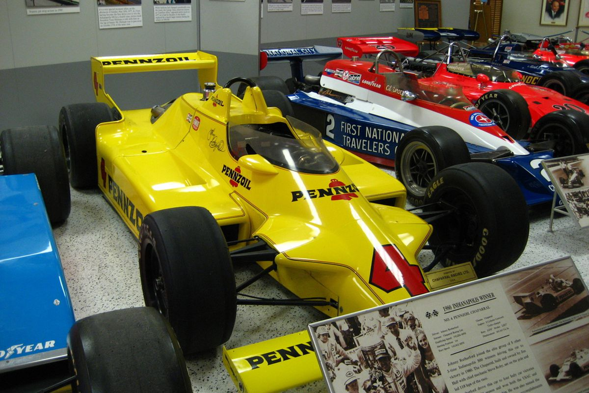 """Johnny Rutherford's """"Yellow Submarine"""" Chaparral 2K took overall top-prize honors in our informal survey of favorite IndyCars of all time (Photo: Wikipedia)"""