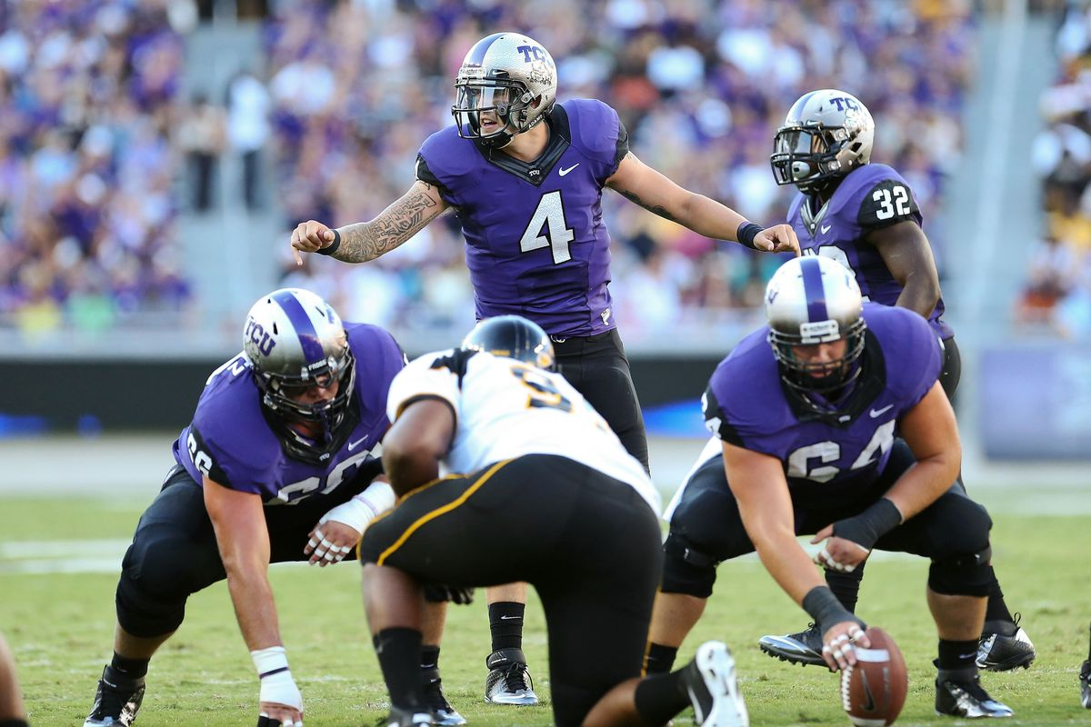 Sep 08, 2012; Fort Worth, TX, USA; TCU Horned Frogs quarterback Casey Pachall (4) calls signals against the Grambling State Tigers during the first half at Amon G. Carter Stadium.  Mandatory Credit: Kevin Jairaj-US PRESSWIRE
