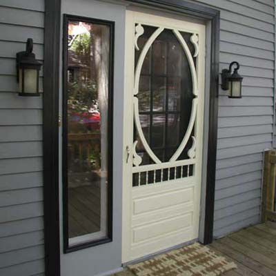After Staging: Painted Front Door With New Light Fixtures