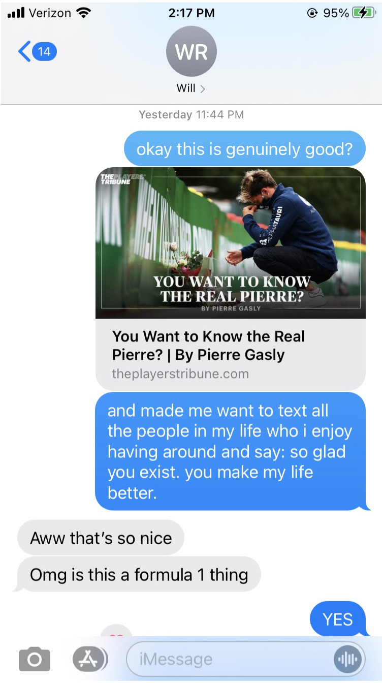 A screen capture of a text message exchange that includes a link to an essay by a Formula 1 driver.