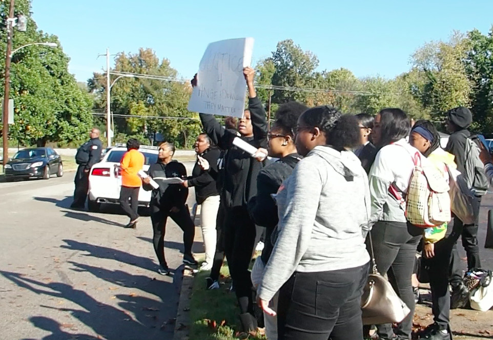 Students at Memphis Academy of Health Sciences High School protest administrators firing a teacher and principal.