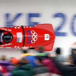 USA's Jill Bakken, driver, and Vonetta Flowers, brakeman, come down turn 11 in the bobsled track in their first run in the women's bobsled at the Utah Olympic Park on Tuesday, Feb. 19, 2002. Bakken and Flowers won the gold medal.