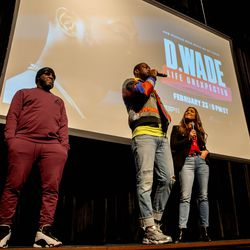 Dwyane Wade and Bob Metelus who directed and executive produced the feature documentary answered questions in front of students at Richards High School.