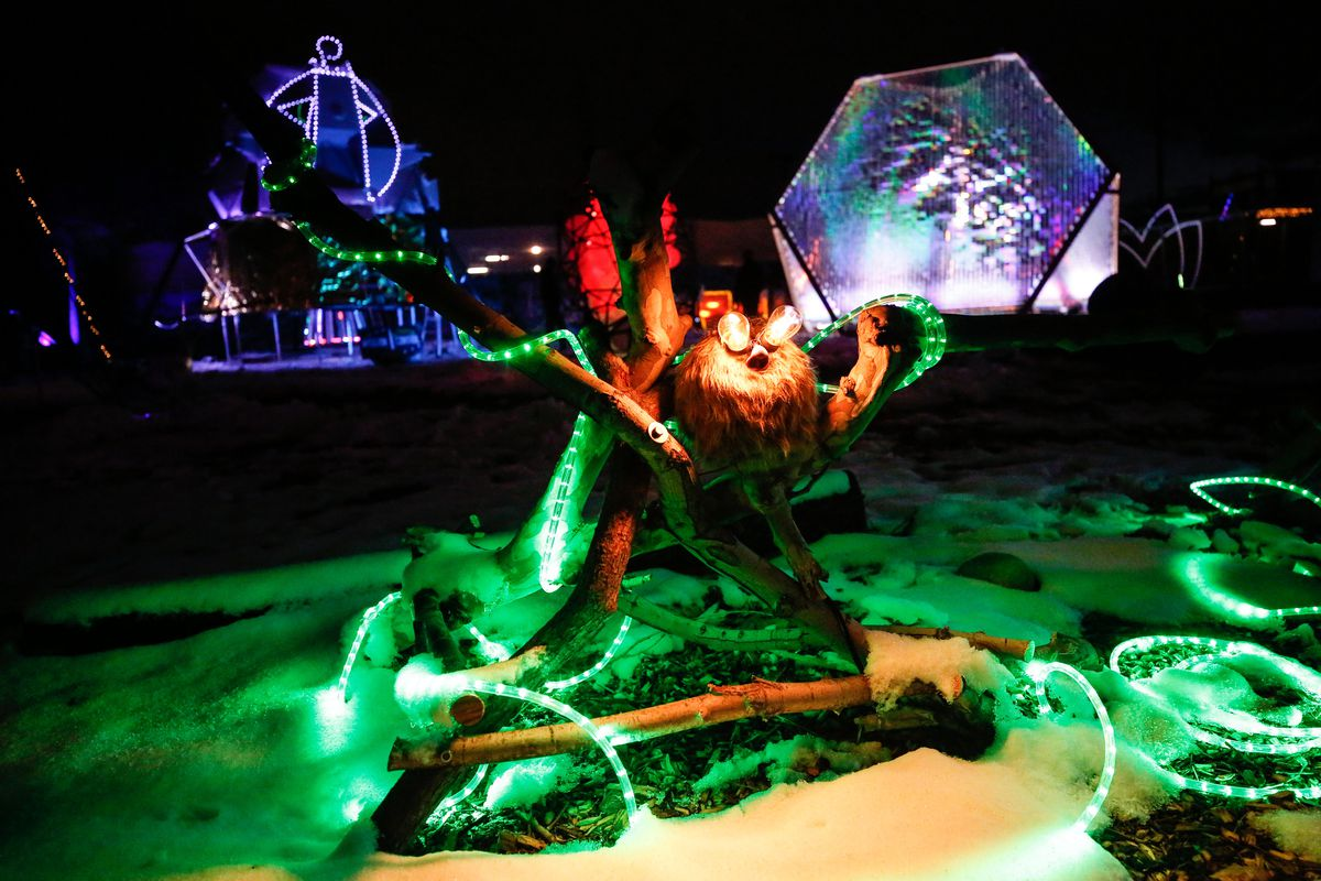 A piece of lighted artwork on display at Lumen Land in Salt Lake City is pictured on Monday, Nov. 9, 2020.