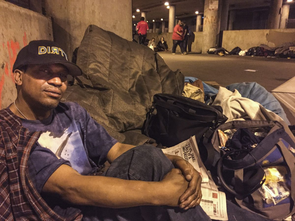 Chris Carter lives in a homeless encampment on Lower Wacker Dr. known as The Triangle. The city plans to evict the people staying<br>there and to erect fencing to keep them from from returning. | Mark Brown/Sun-Times