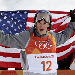 Silver medal winner NickGoepper, of the United States, celebrates after the men's slopestyle final at Phoenix Snow Park at the 2018 Winter Olympics in Pyeongchang, South Korea, Sunday, Feb. 18, 2018. (AP Photo/Gregory Bull)