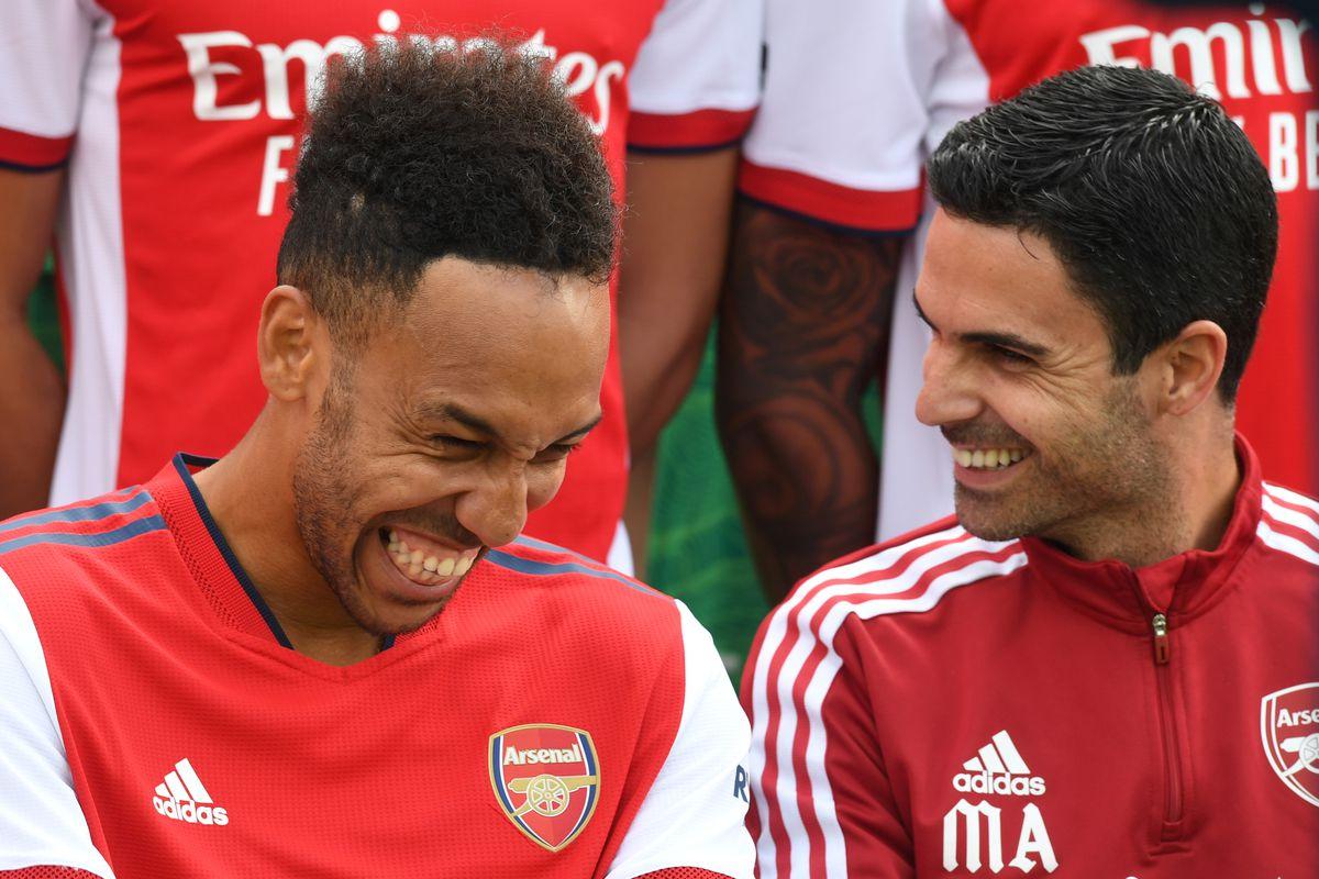 Pierre-Emerick Aubameyang and Mikel Arteta - Arsenal - Premier League