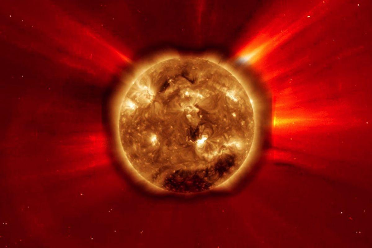 Solar flare CME from Feb. 2011 (Credit: NASA SOHO)