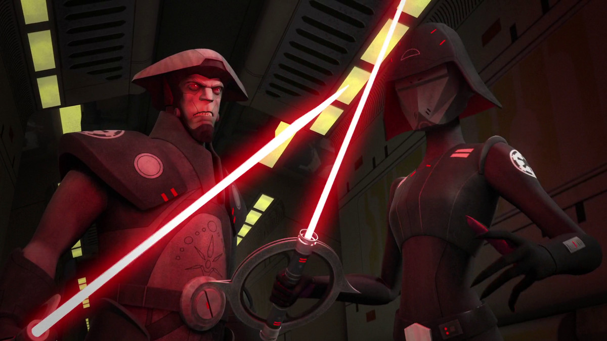 inquisitors from star wars rebels hold circular red beamed lightsabers