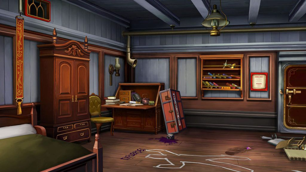One of the crime scenes in The Great Ace Attorney, depicting a chalk outline of a body on the floor