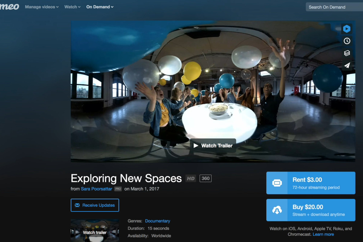 Vimeo's 360-degree content is available via mobile apps and VR platforms.  Image: Vimeo