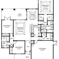 In this floor plan released by Homeplans.com, the first floor, with a well-sized Great Room and rear lanai, of a compact luxury home  is shown for House of the Week HMAFAPW1710.