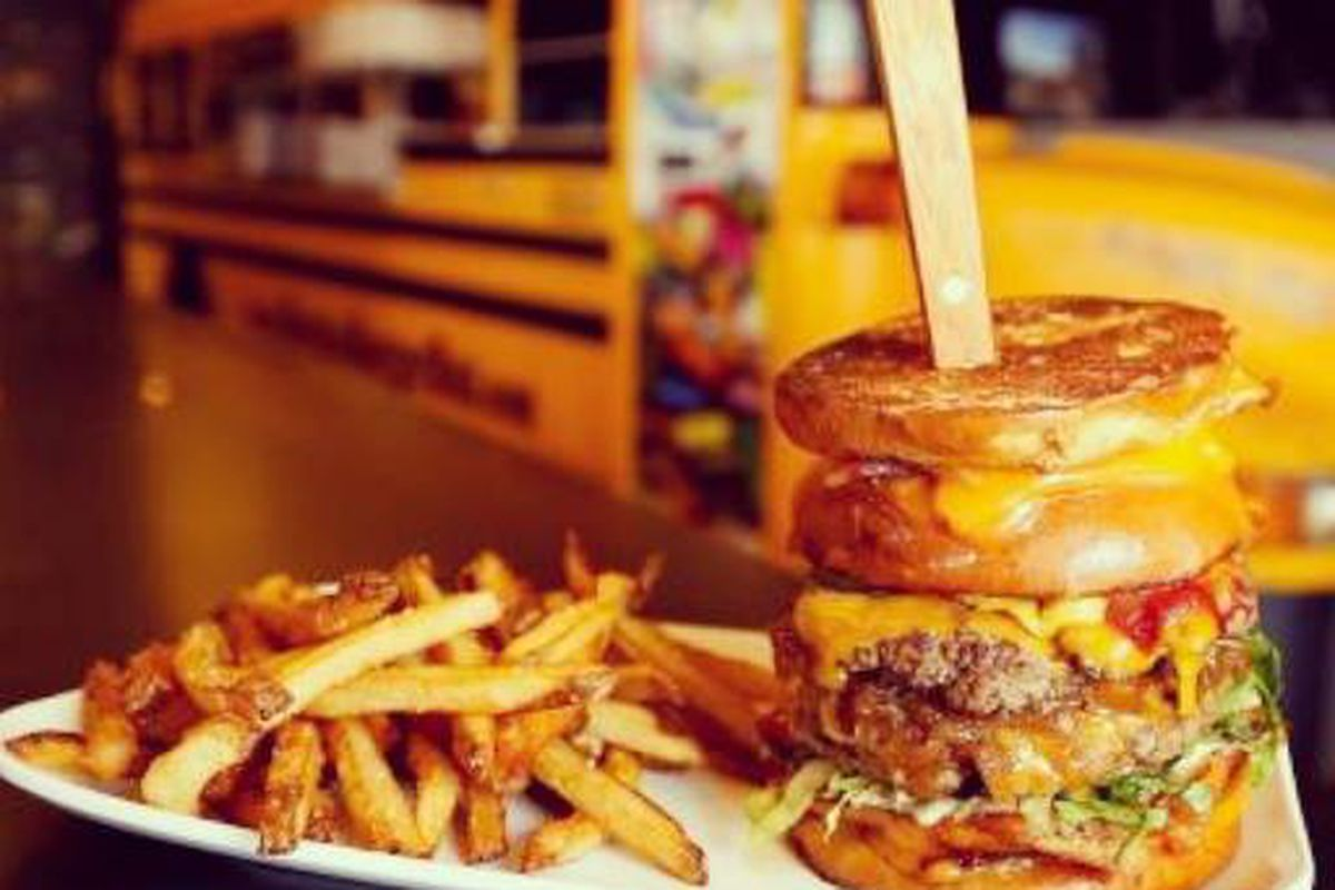Tackle Bernie's Burger Bus Stop's deliciously insane Detention burger.