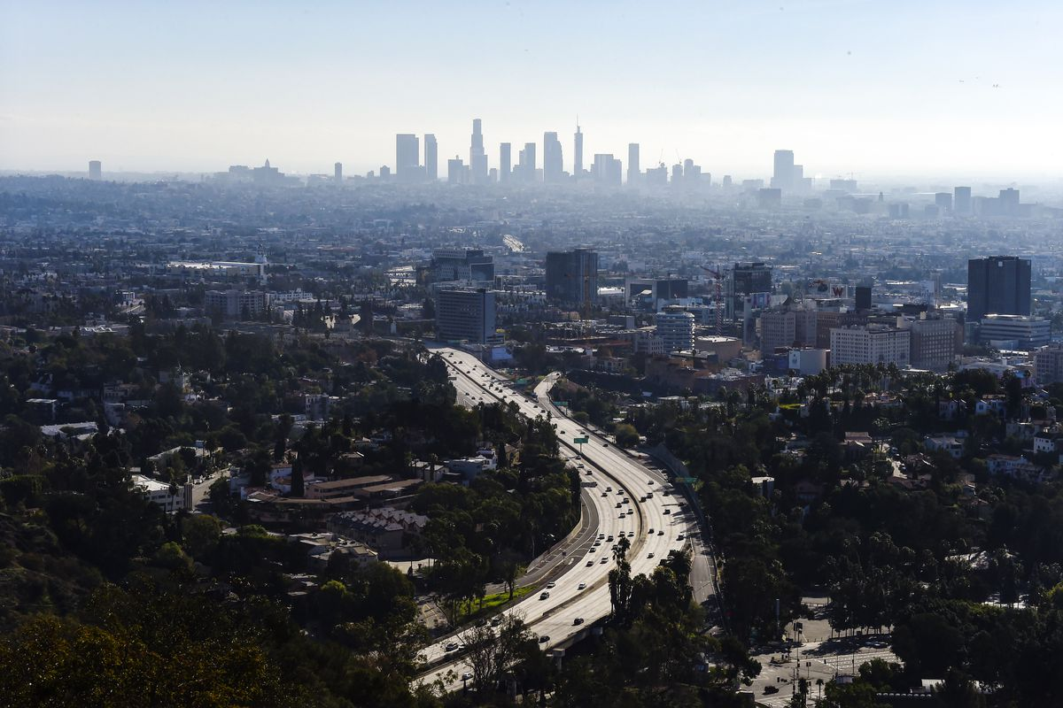 Los Angeles' famed 101 freeway connects the city's suburbs to its downtown, seen in the distance.