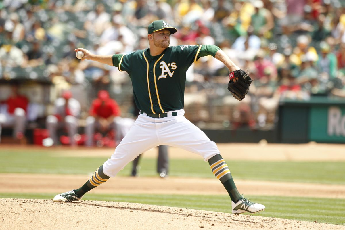 Oakland Athletics pitcher Jesse Hahn prepares to deliver a pitch against the Los Angeles Angels. If healthy in 2016, Hahn will be a key part of the A's rotation.