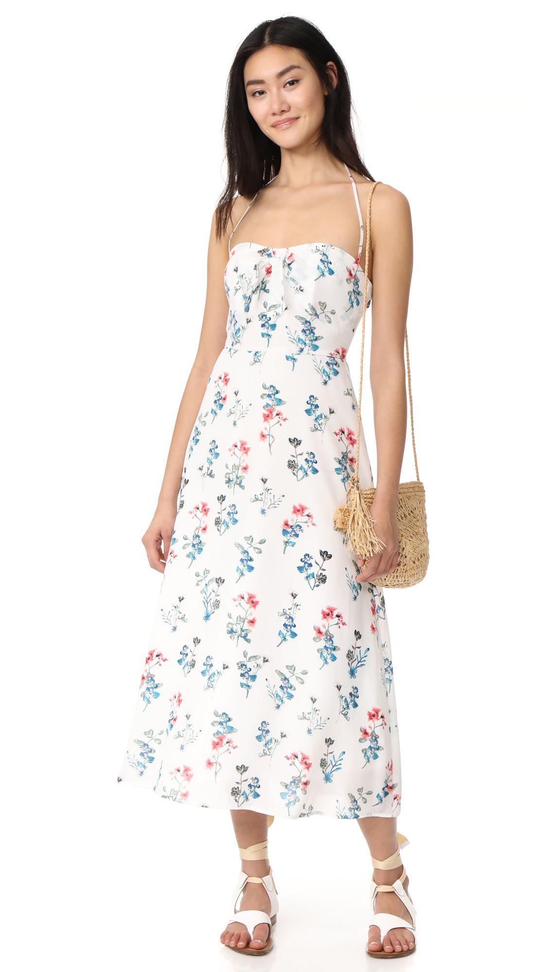 A model wearing a floral sundress