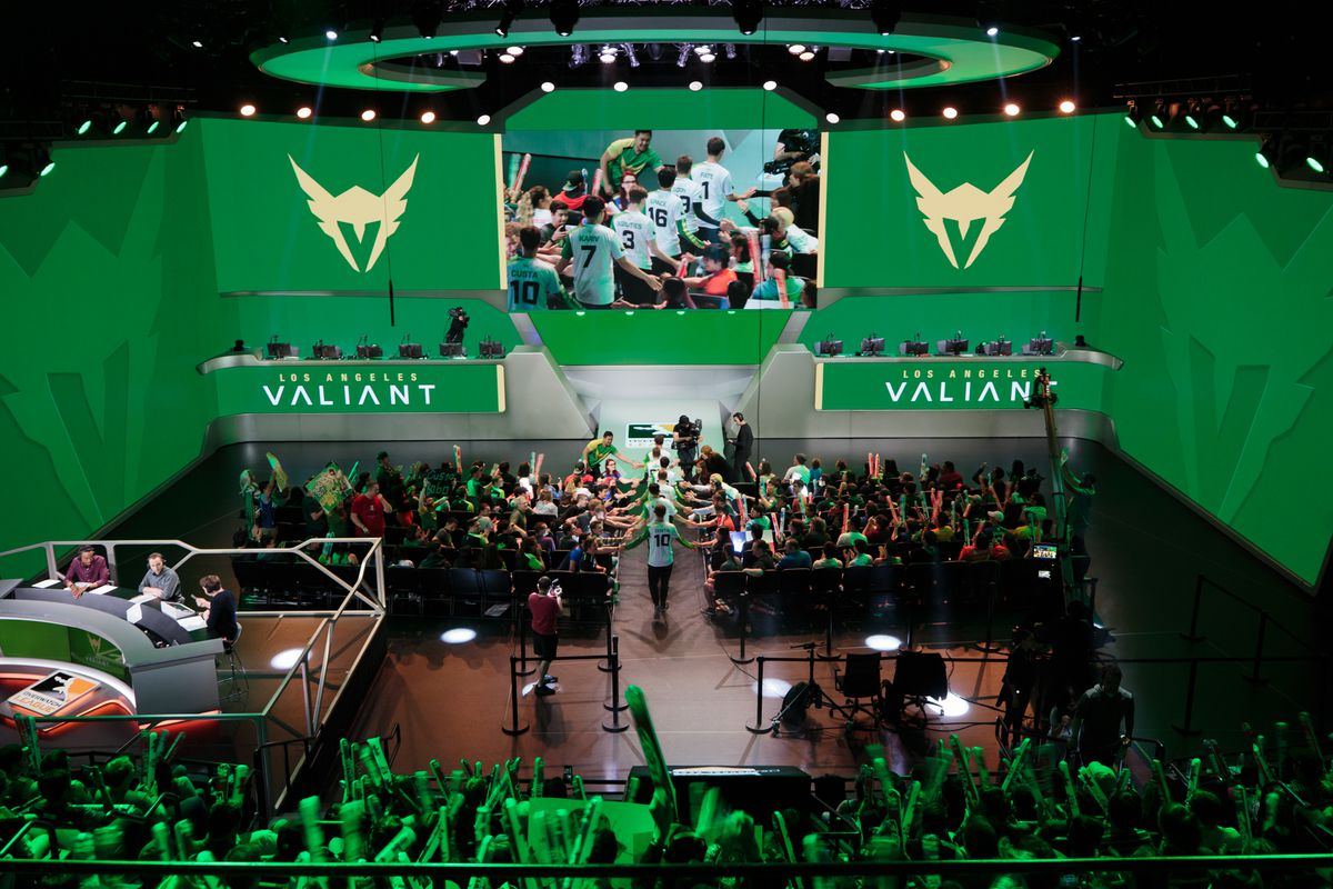The Los Angeles Valiant enter the Blizzard Arena