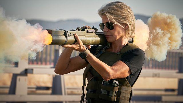 Sarah Connor (Linda Hamilton) firing a missile in Terminator: Dark Fate.