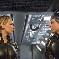 "Jennifer Lawrence is Raven/Mystique and Evan Peters is Peter/Quicksilver in ""X-Men: Apocalypse."""
