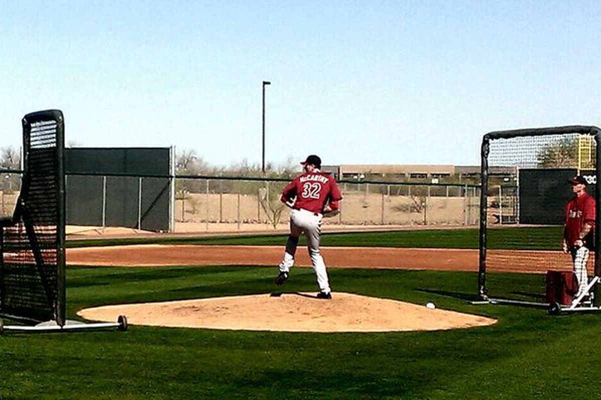 Great day at #Dbacks camp here at @SaltRiverFields as @BMcCarthy32 faces live hitters for the first time