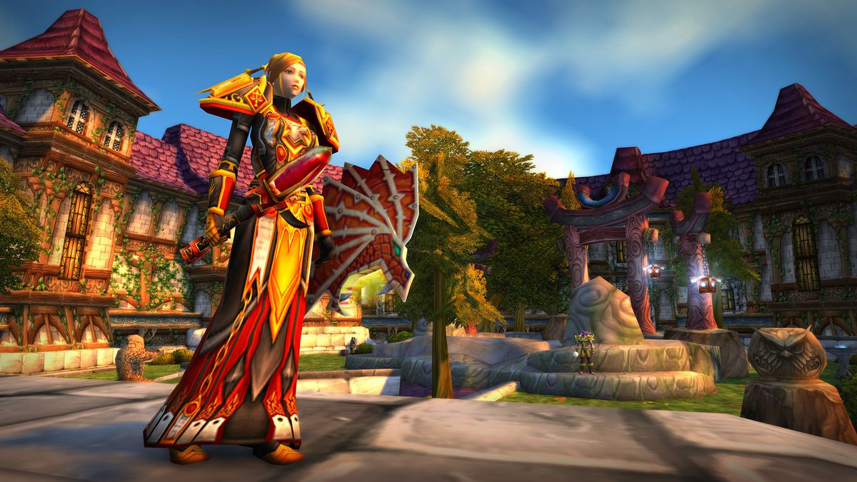 World of Warcraft - a human paladin stands in Stormwind City, wearing gear from Blackwing Lair