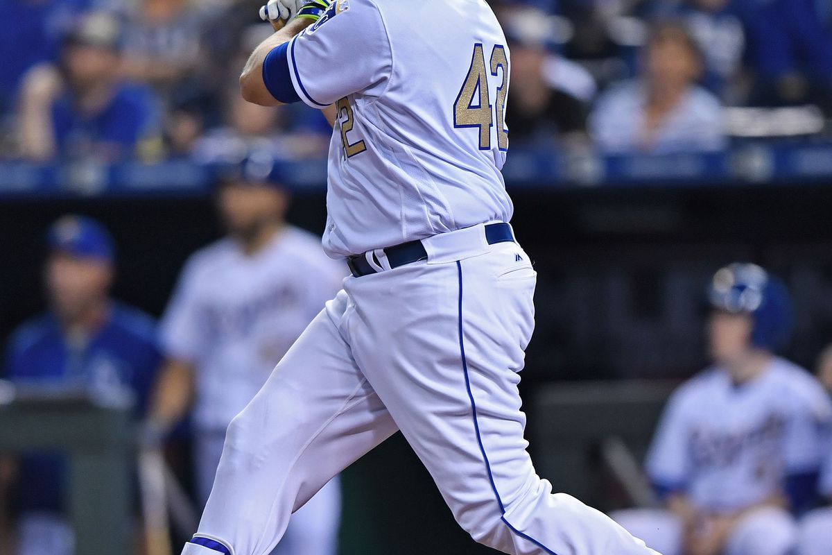 Mike Moustakas has two home runs in the series, but won't start today.