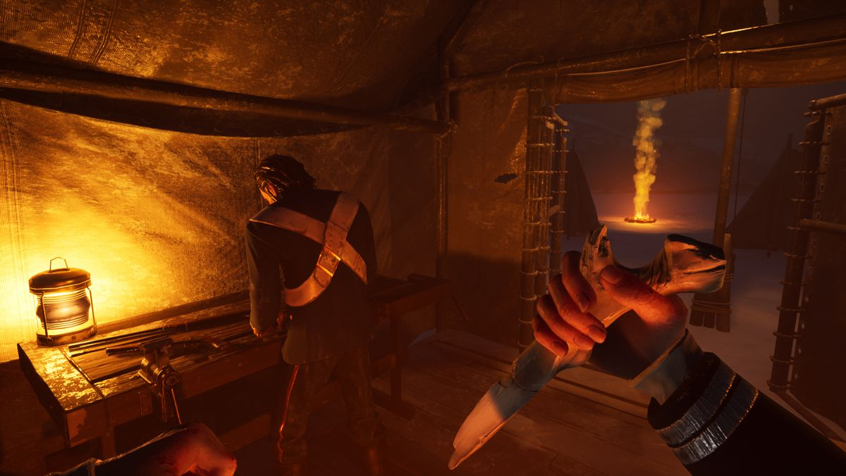 A player about to stab another player with a bone knife in Dread Hunger