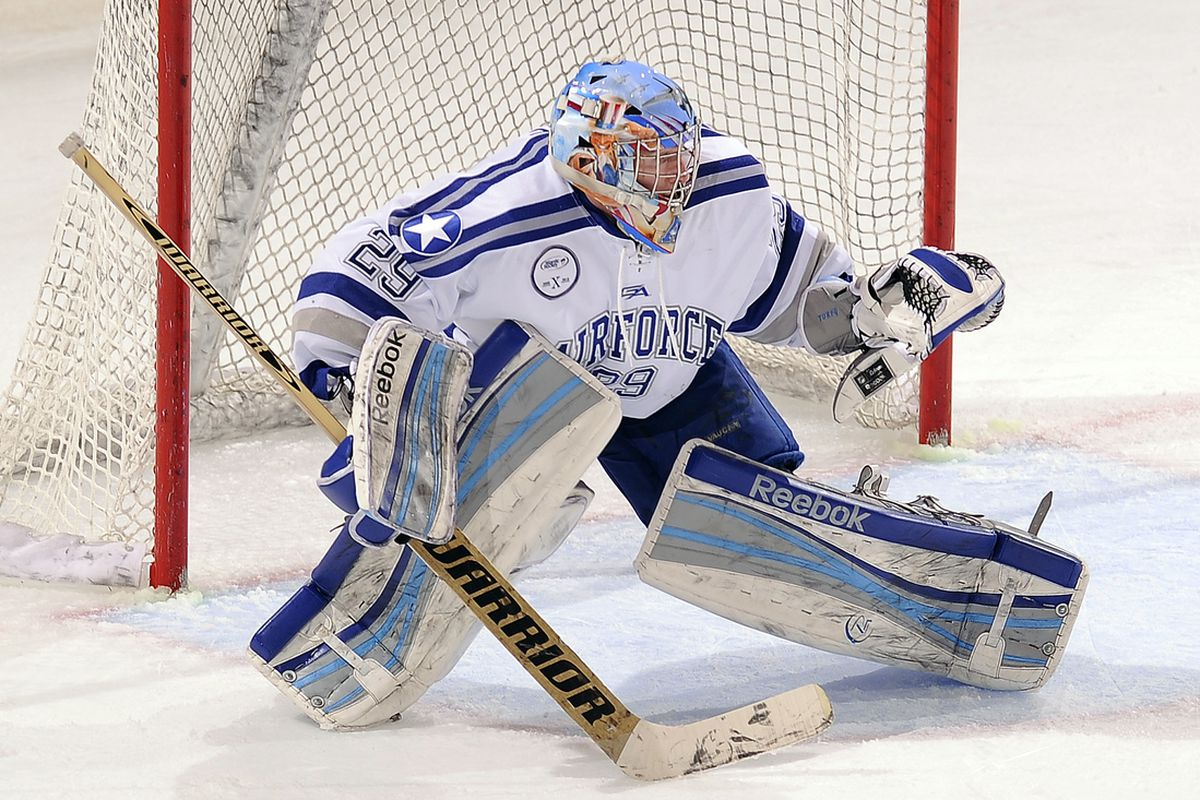 Air Force senior goaltender Jason Torf made 17 of his 29 saves in the third period.